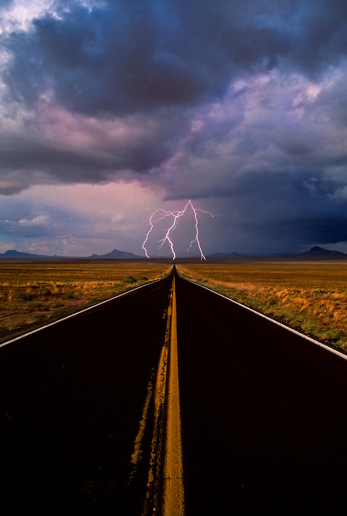 Lightning strike on road, Northern Arizona, near Second Mesa