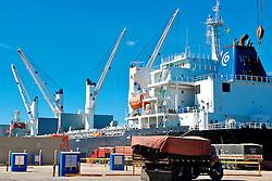 Navios para carga e descarga de contêiners no Porto de Rio Grande. FOTO: Alfonso Abraham/Preview.com