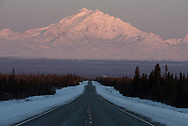Mt Drum in the Wrangell Mountains as seen along the Glenn Highway