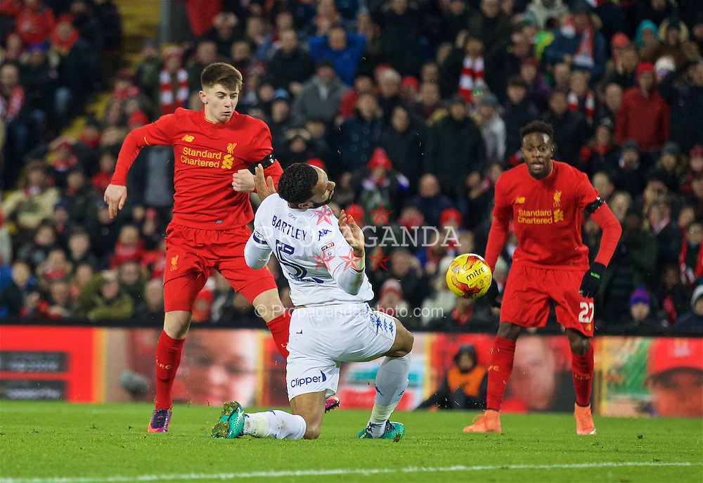 LIVERPOOL, ENGLAND - Tuesday, November 29, 2016: Liverpool's Ben Woodburn in action against Leeds United during the Football League Cup Quarter-Final match at Anfield. (Pic by David Rawcliffe/Propaganda)