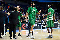 Panathinaikos's player Ioannis Bourousis and Chris Singleton during match of Turkish Airlines Euroleague at Barclaycard Center in Madrid. November 16, Spain. 2016. (ALTERPHOTOS/BorjaB.Hojas)
