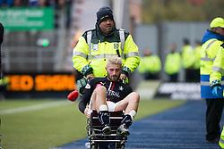 Falkirk's Lewis Kidd off injured. Falkirk 2 v 1 Dunfermline, Scottish Championship game played 15/10/2016, at The Falkirk Stadium.