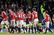 Jesse Lingard of Manchester United © celebrates with his teammates after scoring his teams 1st goal to make it 0-1.Barclays Premier league match, Chelsea v Manchester Utd at Stamford Bridge in London on Sunday 7th February 2016.<br /> pic by John Patrick Fletcher, Andrew Orchard sports photography.