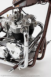 Rocket to Russia is Cole Rogers' tribute to his late father who was a physicist in rocket technology. The 1970 Triumph engine is sitting in a custom frame built by Cole at his shop 138 Cycle Fabrication. Photographed by Michael Lichter in Sturgis, SD. August 1, 2019. ©2019 Michael Lichter