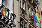Rainbow flags are pictured high above Whitehall on 3rd July 2021 in London, United Kingdom. The rainbow flag is a symbol of lesbian, gay, bisexual and transgender LGBT pride and its colours reflect the diversity of the LGBT community and spectrum of human sexuality and gender.