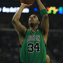 11 February 2009:  Boston Celtics forward Paul Pierce (34) shoots during a NBA game between the Boston Celtics and the New Orleans Hornets at the New Orleans Arena in New Orleans, LA.