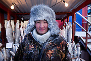 Portrait of a man selling frozen fish on the Yakutsk outdoor fish market. Yakutsk is a city in the Russian Far East, located about 4 degrees (450 kilometres) south of the Arctic Circle. It is the capital of the Sakha (Yakutia) Republic in Russia with a major port on the Lena River. The city has a population of 264.000 (2009). Yakutsk is one of the coldest cities on Earth. The average monthly winter temperature in January is around -43,2 C. Yakutsk, Jakutsk, Yakutia, Russian Federation, Russia, RUS, 16.01.2010.