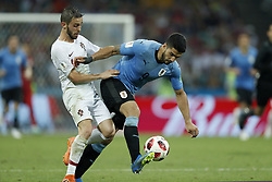 (L-R) Bernardo Silva of Portugal, Luis Suarez of Uruguay during the 2018 FIFA World Cup Russia round of 16 match between Uruguay and at the Fisht Stadium on June 30, 2018 in Sochi, Russia
