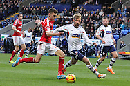 Nottingham Forest's goalscorer Jamie Paterson has another shot at goal. Skybet championship match, Bolton Wanderers v Nottingham Forest at the Reebok Stadium in Bolton, England on Saturday 11th Jan 2014.<br /> pic by David Richards, Andrew Orchard sports photography.