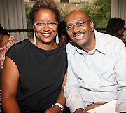"""l to r: Harriette Cole and Walter Greene at b.michael America Spring 2010 Collection """" Advanced American Style """" held at Christie's in Rockefeller Plaza on September 16, 2009 in New York City."""