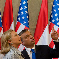 Viktor Orban (R) Prime Minister of Hungary shows around Hillary Rodham Clinton (L) Secretary of State for the United States during a press conference after the Opening ceremony of the Tom Lantos Intsitute in Budapest, Hungary. Thursday, 30. June 2011. ATTILA VOLGYI