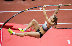Annika Roloff of Germany competes in the Pole Vault Women Final on day two of the 2017 European Athletics Indoor Championships at the Kombank Arena on March 4, 2017 in Belgrade, Serbia. Photo by Vid Ponikvar / Sportida