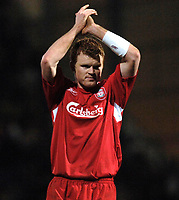 Photo: Daniel Hambury.<br />Portsmouth v Liverpool. The FA Cup. 29/01/2006.<br />Liverpool's goal scorer John Arne Riise applauds the fans at the end of the game.
