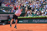 Andy Murray (GBR) serves during the mens singles second round of the Roland Garros Tennis Open 2017 at Roland Garros Stadium, Paris, France on 1 June 2017. Photo by Jon Bromley.