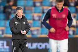 Assistenttræner Mikkel Thygesen (FC Helsingør) under opvarmningen til kampen i 1. Division mellem FC Helsingør og Vendsyssel FF den 18. september 2020 på Helsingør Stadion (Foto: Claus Birch).