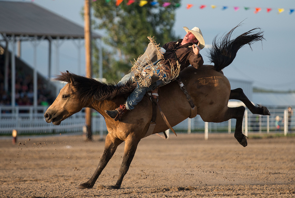 ??? competes in bareback riding at Nebraska's Big Rodeo on Saturday, July 30, 2016, in Burwell.