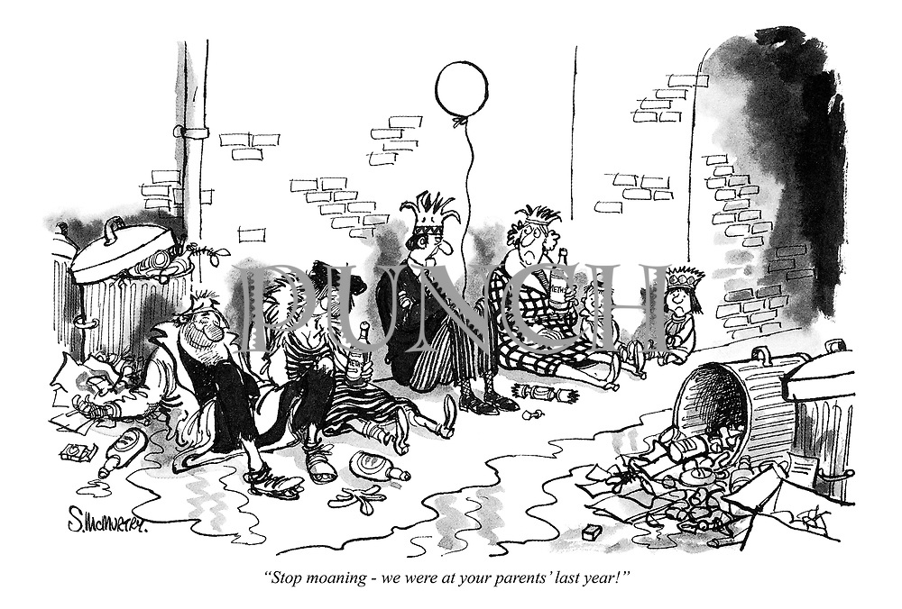 """Stop moaning - we were at your parents' last year!"" (a Punch cartoon showing a homeless family Christmas party)"