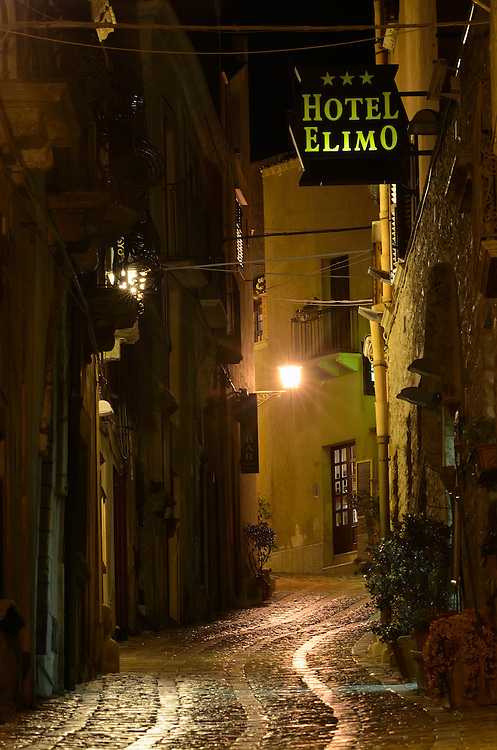 Hotel Elimo on a narrow street in the historic hilltop village of Erice, Italy.