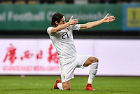 """Edinson Cavani of Uruguay national football team poses to celebrate after scoring against Wales national football team in their final match during the 2018 Gree China Cup International Football Championship in Nanning city, south China's Guangxi Zhuang Autonomous Region, 26 March 2018.<br /> <br /> Edinson Cavani's goal in the second half helped Uruguay beat Wales to claim the title of the second edition of China Cup International Football Championship here on Monday (26 March 2018). """"It was a tough match. I'm very satisfied with the result and I think that we can even get better if we didn't suffer from jet lag or injuries. I think the result was very satisfactory,"""" said Uruguay coach Oscar Tabarez. Wales were buoyed by a 6-0 victory over China while Uruguay were fresh from a 2-0 win over the Czech Republic. Uruguay almost took a dream start just 3 minutes into the game as Luis Suarez's shot on Nahitan Nandez cross smacked the upright. Uruguay were dealt a blow on 8 minutes when Jose Gimenez was injured in a challenge and was replaced by Sebastian Coates. Inter Milan's midfielder Matias Vecino of Uruguay also fired at the edge of box from a looped pass but only saw his attempt whistle past the post. Suarez squandered a golden opportunity on 32 minutes when Ashley Williams's wayward backpass sent him clear, but the Barca hitman rattled the woodwork again with goalkeeper Wayne Hennessey well beaten."""