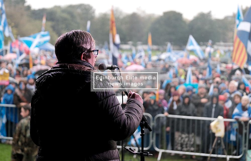 All Under One Banner March, Edinburgh, 5 October 2019<br /> <br /> Pictured: Joanna Cherry QC MP addresses the crowd in the Meadows<br /> <br /> Alex Todd   Edinburgh Elite media