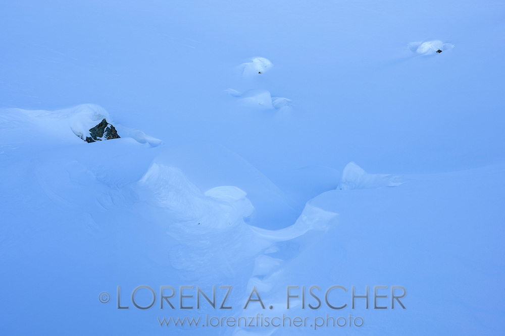 Powder snow and the work of the wind on the way up to Piz d'Emmat Dadaint, Julier Pass, Grisons, Switzerland
