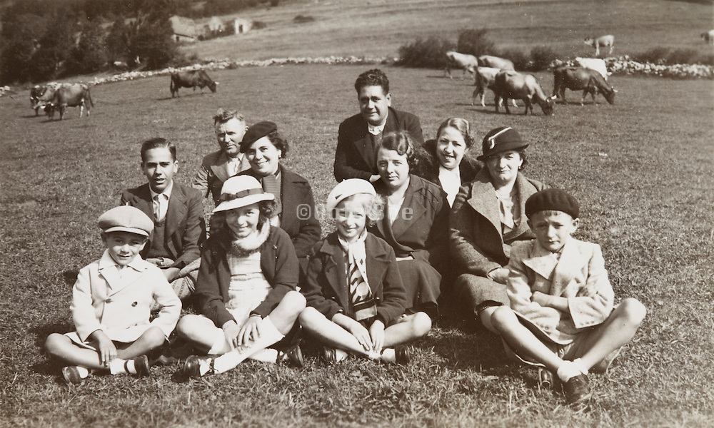 large family posing for holiday photo Col de Portet d'Aspet, France