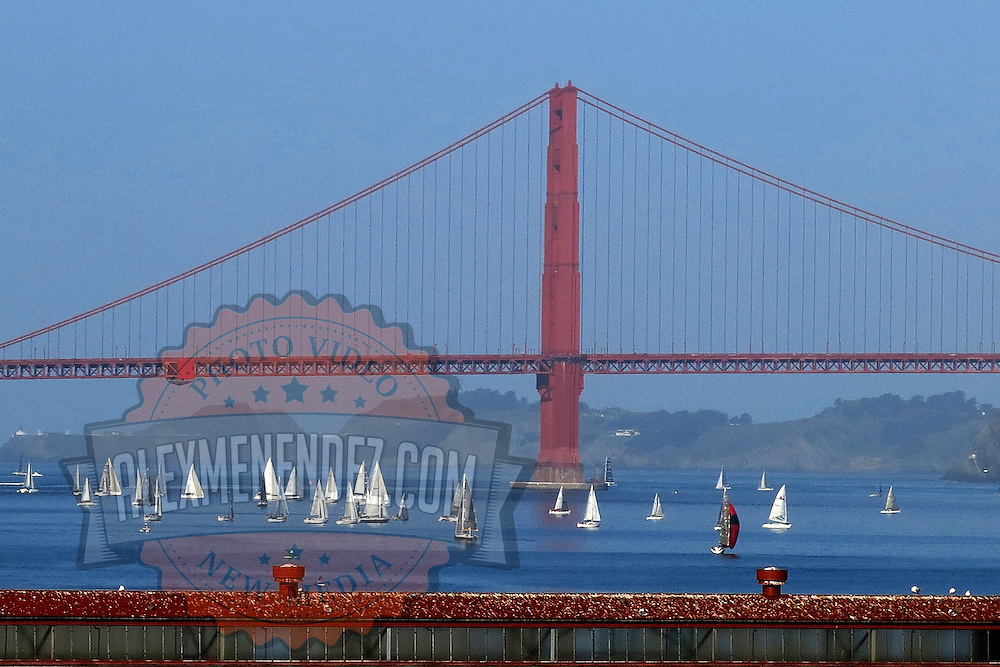 Sailboats float around the Golden Gate bridge in San Francisco, California on March 3, 2014. (AP Photo/Alex Menendez)
