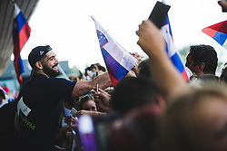 Ziga Dimec with fans during arrival of Slovenian national team from Tokio 2020 Olympic games, 8. August 2021, Airport Jozeta Pucnika, Ljubljana, Slovenia. Photo by Grega Valancic