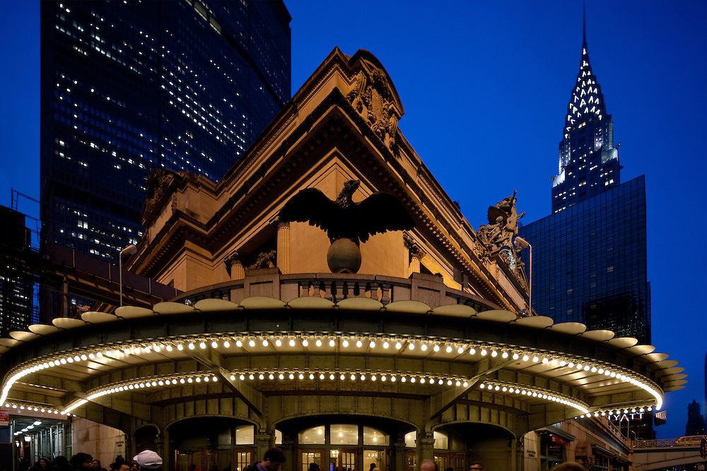 Lexington Avenue entrance to Grand Central Station in Manhattan. In the background is the Chrysler Building.