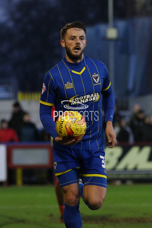 Callum Kennedy of AFC Wimbledon during the Sky Bet League 2 match between AFC Wimbledon and Mansfield Town at the Cherry Red Records Stadium, Kingston, England on 16 January 2016. Photo by Stuart Butcher.