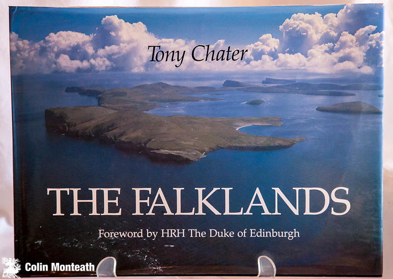 THE FALKLANDS, Signed by Tony Chater, The Pink Shop, Stanley, 1993, Large format oblong photographic book, VG jacket, B&W historical and colour plates - great linking text by a hard-case Falklander - a superb insight to life in the far-flung South Atlantic. $NZ45
