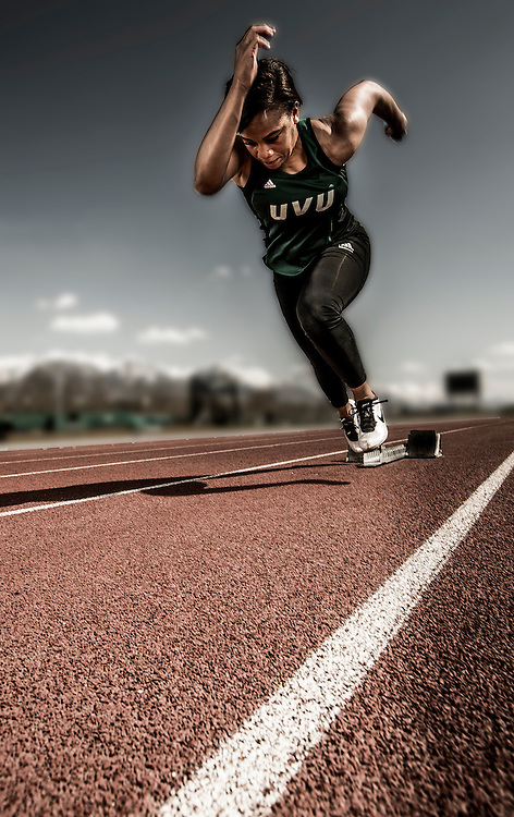 UVU senior track athletes sportraits on the campus of Utah Valley University in Orem, Utah Thursday April 10, 2014. (August Miller)