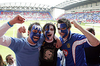 Photo: Paul Thomas.<br /> Wigan Athletic v Portsmouth. The Barclays Premiership. 29/04/2006.<br /> <br /> Pompey fans, (L-R) Craig Cullen, Tom Wedick and John O'Sullivan before the match.