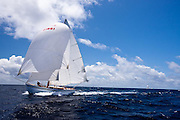 Genesis, a Carriacou Sloop, sailing in the Windward Race at the Antigua Classic Yacht Regatta.