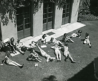 1950 Ladies sunbathing at the Hollywood Studio Club at 1215 Lodi Place