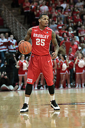 15 February 2014:  Walt Lemon, Jr. during an NCAA Missouri Valley Conference (MVC) mens basketball game between the Bradley Braves and the Illinois State Redbirds  in Redbird Arena, Normal IL.