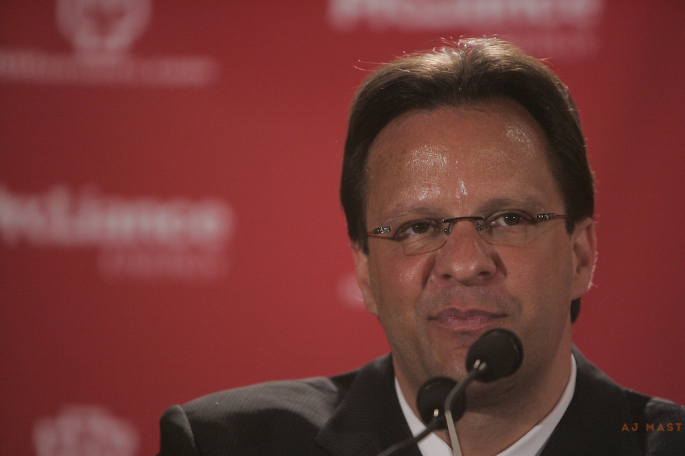 02 April 2008:New Indiana Men's basketball coach Tom Crean speaks at a press conference anouncing his hiring in Bloomington, Ind. Crean coached at Marquette for 9-years before accepting the Indiana job