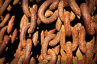 Rusty heavy chains with rusty color and texture pattern. Design, pattern, texture, Architecture fine art photography prints.