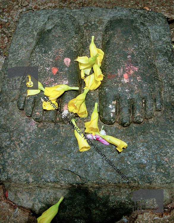 Buddha's Footprint at the Mahabodhi Temple Bodh Gaya India
