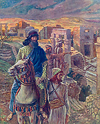 """NEHEMIAH LOOKS UPON THE RUINS OF JERUSALEM. Nehemiah ii. 17.<br /> """"Then said I unto them, Ye see the distress that we are in, how Jerusalem lieth waste, and the gates thereof are burned with fire: come, and let us build up the wall of Jerusalem, that we be no more a reproach."""" From the book ' The Old Testament : three hundred and ninety-six compositions illustrating the Old Testament ' Part II by J. James Tissot Published by M. de Brunoff in Paris, London and New York in 1904"""