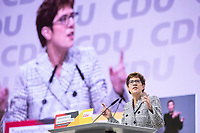 07 DEC 2018, HAMBURG/GERMANY:<br /> Annegret Kramp-Karrenbauer, CDU Generalsekretaerin und Kandidatin fuer das Amt der Parteivorsitzenden der CDU, waehrend ihrer Bewerbungsrede, CDU Bundesparteitag, Messe Hamburg<br /> IMAGE: 20181207-01-106<br /> KEYWORDS: party congress