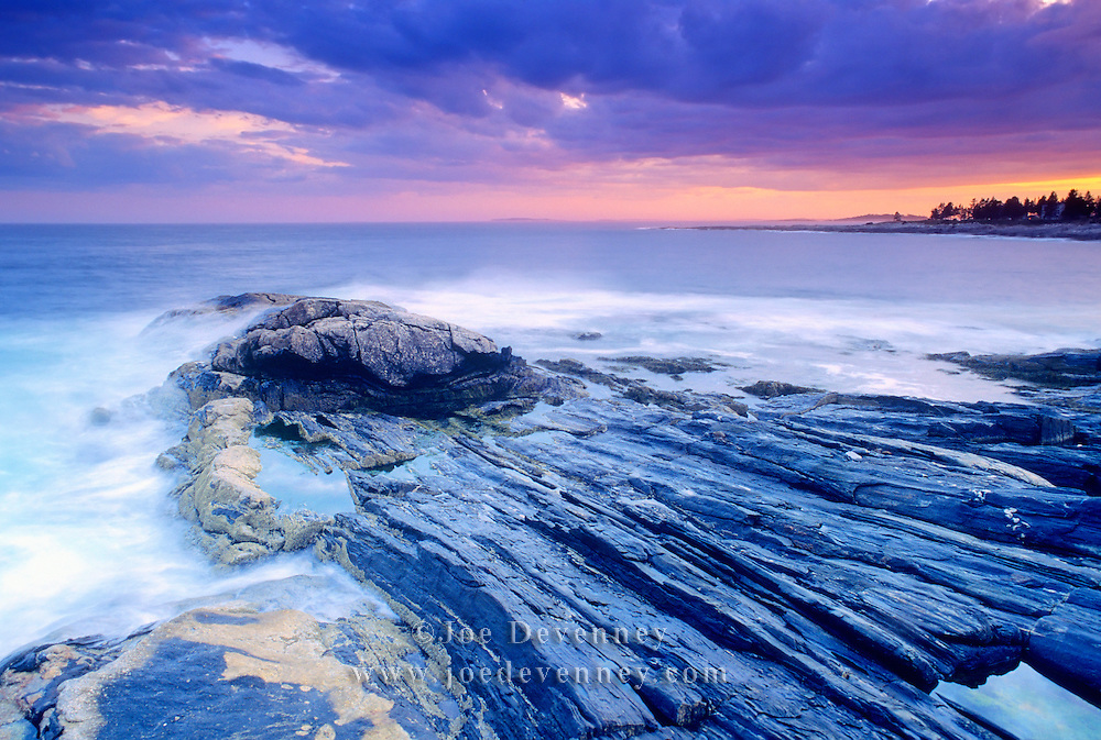 Rocky coast at Pemaquid Point. Bristol, Maine