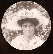 Magic lantern slide c 1900-1910 halftone portrait of woman face and head wearing hat