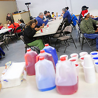 122212  Adron Gardner<br /> <br /> Food awaits guests as Badlands Burgers hosted a Feed the Needy holiday meal At Potter's House in Grants Saturday.
