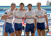 Bled, SLOVENIA.  Men's four final Gold Medalist GBR M4- Bow Matt LANGRIDGE, Rick EGINGTON, Tom JAMES and Alex GREGORY, awards dock. 2011 FISA World Rowing Championships, Lake Bled. Sunday  04/09/2011  [Mandatory Credit;  Intersport Images]