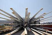 Griekenland, Nafplion, 5-7-2008Wieken van windmolens liggen in de haven. Ook in griekenland wordt windenergie gewonnen.Foto: Flip Franssen