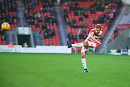 Herbie Kane of Doncaster Rovers (15) crosses the ball during the EFL Sky Bet League 1 match between Doncaster Rovers and AFC Wimbledon at the Keepmoat Stadium, Doncaster, England on 17 November 2018.