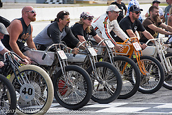 Billy Lane with fellow racers at his Sons of Speed vintage motorcycle racing during Biketoberfest. Daytona Beach, FL, USA. Saturday October 21, 2017. Photography ©2017 Michael Lichter.