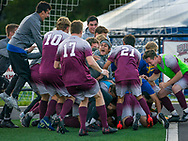 Mark DiOrio / Colgate University <br /> Colgate players celebrate with their teammate Uyi Omorogbe following his winning kick against Oregon State in men's soccer at the Beyer-Small '76 Field Sep. 8, 2017. Colgate won 1-0.