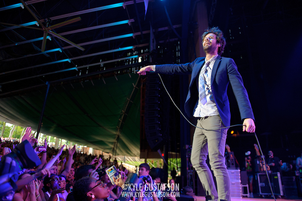COLUMBIA, MD - May 11th,  2013 -   Michael Angelakos  of Passion Pit performs on the Main Stage at the 2013 Sweetlife Music and Food Festival at Merriweather Post Pavilion in Columbia, MD.  (Photo by Kyle Gustafson/For The Washington Post)